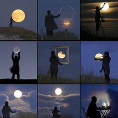 Funny Pictures, Jokes and Gifs / Animations: Playing with Moon to make Beautiful Pictures Cool Pictures, Beautiful Pictures, Funny Pictures, Illusion Photos, Moon Photos, Moon Pics, Perspective Photography, Colossal Art, Shoot The Moon