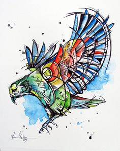 The Kea Bird - Watercolor and ink by www.fiona-Clarke.com, tattoo art?
