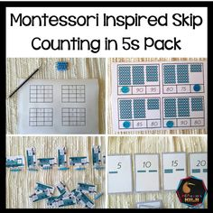 Skip Counting in 5 (Math resource) - montessorikiwi Montessori Math, Montessori Elementary, Elementary Math, Counting In 5s, Counting Puzzles, Bar Card, Sorting Activities, Primary Classroom