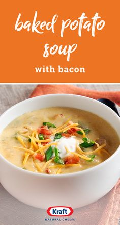 Baked Potato Soup with Bacon - Savor the heartwarming taste of Baked Potato Soup with Bacon. We added bacon, shredded cheese, green onions and sour cream to our hearty baked potato soup. Slow Cooker Soup, Slow Cooker Recipes, Crockpot Recipes, Cooking Recipes, Healthy Recipes, Slow Cooking, Potato Bacon Soup, Loaded Baked Potato Soup, Easy Potato Soup