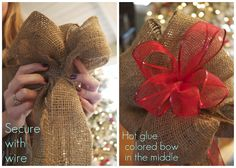 Burlap Christmas Tree Topper...a little early, i know. But, I wanted to save this so I can make it this season=)