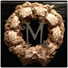 Chevron & Polka Dot Burlap Wreath with Initial- Front Door Wreath- Wedding Decoration- Wedding Gift-Year Round Wreath- Monogrammed wreath by SheekBurlapDesigns on Etsy https://www.etsy.com/listing/158913541/chevron-polka-dot-burlap-wreath-with