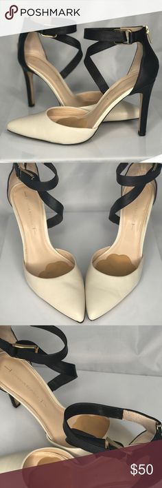 Banana Republic Criss Cross Heels No lie when I tell you these are by far the most comfortable shoes on earth! They are cream colored and black leather I got them on sale at banana republic and I get compliments on them constantly Banana Republic Shoes Heels