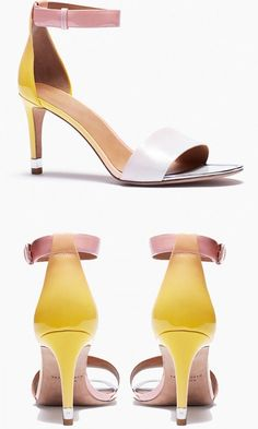 Cast in pretty sunset shades, these minimalist mid-heel sandals are perfect for a poolside party or cocktail hour. #weddingshoes