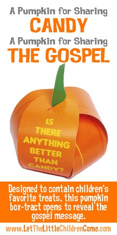 Give out more than just candy with these Halloween tracts! This attractive pumpkin shaped Box-Tract is designed to contain children's favorite treats. More importantly, the pumpkin opens to reveal the gospel message.