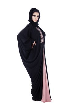 Look chic wearing this black & pink Abaya from o3bay, The beautiful pink embroidery on front makes this dress a special pick, the dress can be worn comfortably on day time outing & evening parties in combination with trendy accessories