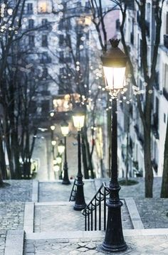 """""""Winter Evening, Montmartre"""" by GeorgianaLane. I am SO excited to go back to Paris, especially with my husband. And Montmartre was definitely one of my absolute favorite places while in Paris. Paris At Night, Oh Paris, City At Night, City Lights At Night, Paris City, Night Light, Oh The Places You'll Go, Places To Travel, Time Travel"""