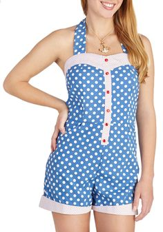 Playful in Polka Dots Romper | Mod Retro Vintage Shorts | ModCloth.com