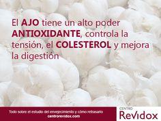 El ajo tiene un alto poder antioxidante, controla la tensión, el colesterol y mejora la digestión