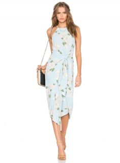 Sleeveless Floral Printed Tie front Midi Dress