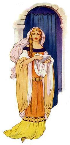 The Princess Guinevere bringing water in a silver basin. Illustration for Stories of King Arthur (Ward Lock, c History Images, Art History, Die Nebel Von Avalon, King Arthur's Knights, Avalon High, The Lady Of Shalott, King Arthur Legend, Mists Of Avalon, Oeuvre D'art