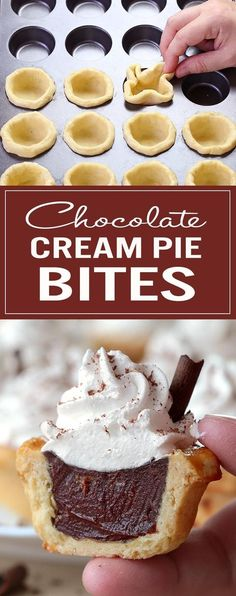 These Chocolate Cream Pie Bites are great for a crowd, and perhaps even better as a bite-sized treat to share with a loved one on a special occasion – with leftovers, of course! # Desserts for a crowd Chocolate Cream Pie Bites - Sugar Apron Mini Desserts, Desserts Keto, Bite Size Desserts, Desserts For A Crowd, Party Desserts, Just Desserts, Delicious Desserts, Dessert Recipes, Small Desserts