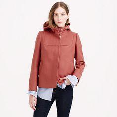 Wool melton hooded bib jacket : Womens   J.Crew