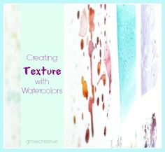 Welcome to the second week of my How to Watercolor Series! I hope you are all having fun with this so far...... I know I am!  One of the funnest parts of watercoloring is creating textures! I really