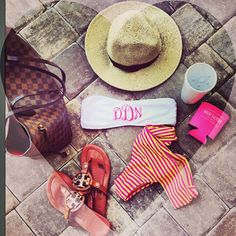 Louis Vuitton tote, Tory Burch sandals, monogrammed bikini & a koozie.. Sweet summertime!