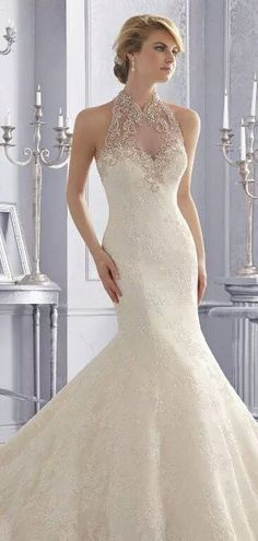 328ae4f3b1226 Trumpet/Mermaid High Neck Applique Beading Chapel Train Tulle Wedding  Dresses at HerDress Online