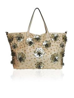 e3e489befe Valentino Camel Leather Sequin Floral Applique Beige Tote Bag. Get one of  the hottest styles