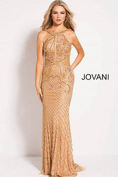Jovani 50127 Dazzling floor length form fitting fully beaded prom gown with sweeping train features sleeveless bodice with high neckline and open back. Formal Dresses For Men, Fitted Prom Dresses, Jovani Dresses, Prom Gowns, Long Dresses, Formal Wear, Wedding Gowns, Gold Gown, Gold Dress