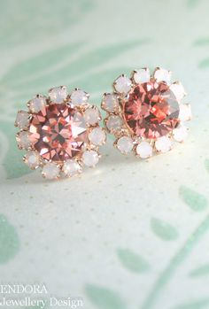 Pink and coral crystal earrings | Pink and coral wedding | Crystal bridesmaid earrings | #EndoraJewellery