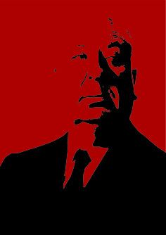 Alfred Hitchcock illustration, created in Illustrator by Joe Patterson.