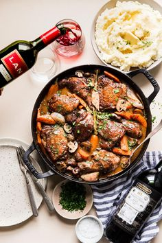 Coq au Vin, sounds fancy right? In reality, this classic French dish is a simple, one-pot wonder full of layered, rich flavors that is perfect for your next family meal or dinner party. Chicken Coq Au Vin Recipe, Classic French Dishes, Parsnip Puree, Roasted Garlic Mashed Potatoes, Great Chicken Recipes, Perfect Chicken, One Pot Meals, Stuffed Peppers, Ethnic Recipes