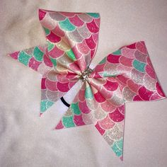 Mermaid Scales Sublimated Cracked Ice Cheer Bow by B3BowsMaine