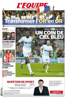 L'Équipe - Mercredi 25 Septembre 2013 - N° 21620