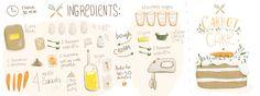 Carrot cake with walnuts and cinnamon by Irina Kurnosenko - They Draw & Cook