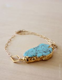 24k Gold Trimmed Turquoise Howlite Bracelet by GeometricTheory