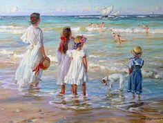 """Sailers"" by Alexander Averin Pinterest Pinturas, Art Plage, Seaside Art, Art Graphique, Fine Art, Beach Scenes, Beautiful Paintings, Art Boards, Art Gallery"