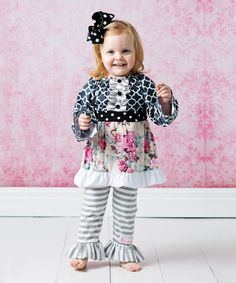 Love this FlowerSak Black & Pink Quatrefoil Ruffle Top Set - Infant, Toddler & Girls by FlowerSak on #zulily! #zulilyfinds