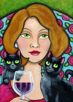 """Woman, Wine and Cats"" par Lisa Nelson"