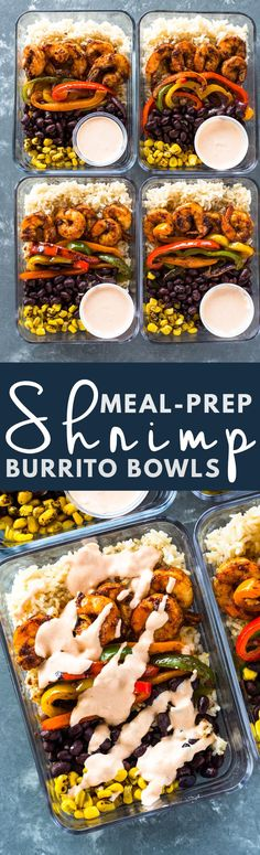 "Meal-Prep ""Minus"" the Shrimp (maybe add Potatoes to make it vegan) Burrito Bowls"