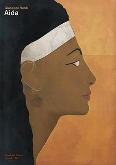 """Opera poster """"Aida"""" - Large opera illustration minimalist book cover poster. - This poster is inspired by Giuseppe Verdi's famous opera """"Aida"""", premiered in 1871 in the Khedivial Opera House in Cairo, Egypt."""