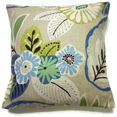 Two Blue Chartreuse Brown Mint Green Pillow Covers Modern Floral 16 inch. $30.00, via Etsy.