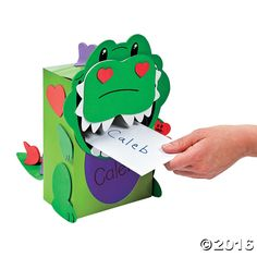 These Valentine boxes are dino-mite! Includes paper box and self-adhesive foam pieces. All craft kit pieces are . Summer Arts And Crafts, Arts And Crafts For Adults, Easy Arts And Crafts, Dinosaur Valentines, Kinder Valentines, Valentine Crafts, Valentines Card Holder, Valentine Boxes For School, Arts And Crafts Interiors