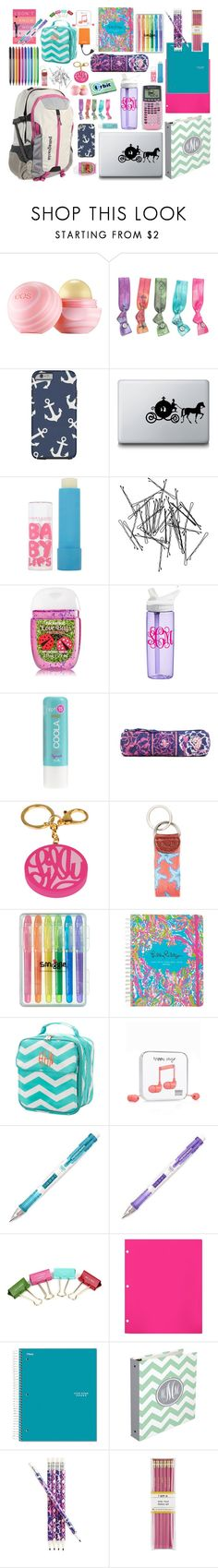 """""""My backpack"""" by kaylarm ❤ liked on Polyvore featuring Patagonia, Eos, Pura Vida, Disney, Edition, Maybelline, Monki, CamelBak, J.Crew and Vera Bradley"""