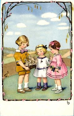 Lia Döring —  Old Easter Post Card 'Children with Rabbits, 1924  (636x1000)