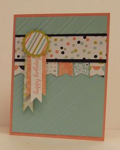 stamping sanity: Sweet Sorbet features Stampin Up's sweet sorbet 2014 SAB DSP, banner punch and banner framelits