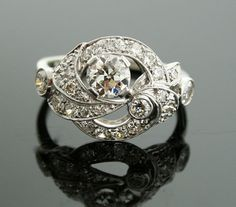 1930s Diamond Ring - Ornate 18k White Gold and Diamond Ring