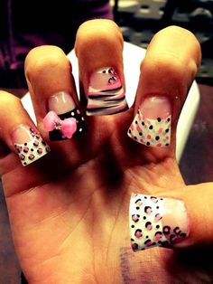 Leopard zebra nails