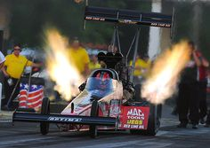 Great flames-up photo by Ron Lewis of the 8,000-horsepower, nitro-fueled Optima Batteries Top Fuel dragster in NHRA Full Throttle Drag Racing Series action in Atlanta, May 2012.