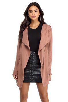 Pink Basic Asymmetrical Hoodie