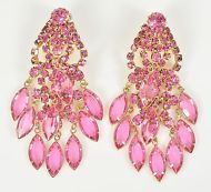 Vintage Earrings Long 1960s Pink Rhinestone Drop Goldtone Retro Bridal Jewellery