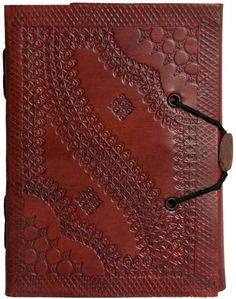 Amazon.com : INDIARY Embossed Pocket Leather Journal with Handmade Paper - 6x4 inch simple and elegant design - small embossed : Writing Notebooks : Office Products