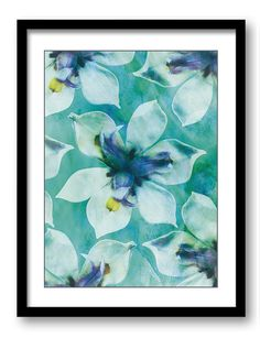 Teal Green White Orchid Flower Bathroom Art by CustomPrintsYourWay