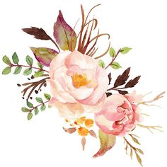 Peach Watercolor Peonies sticker @redbubble