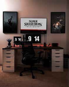 Gaming Desk Setup, Best Gaming Setup, Pc Setup, Bedroom Games, Bedroom Setup, Home Office Setup, Home Office Design, Workspace Desk, Minimalist Desk