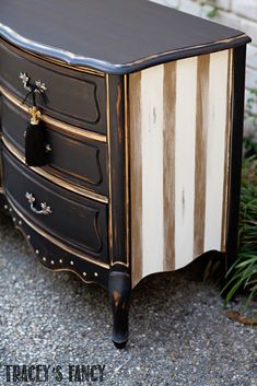 Black and Gold Dresser - A Rustic Glam Beauty by Tracey's Fancy