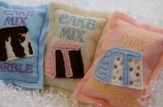 Inspiration photo.   Set of 3 felt food cake mixes pastel colors by LinusAndFiona, $11.00